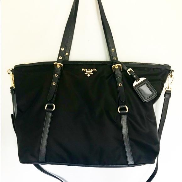 049597580766 Prada Bags | 1bg253 Tessuto Nylon Saffian Leather Tote | Poshmark